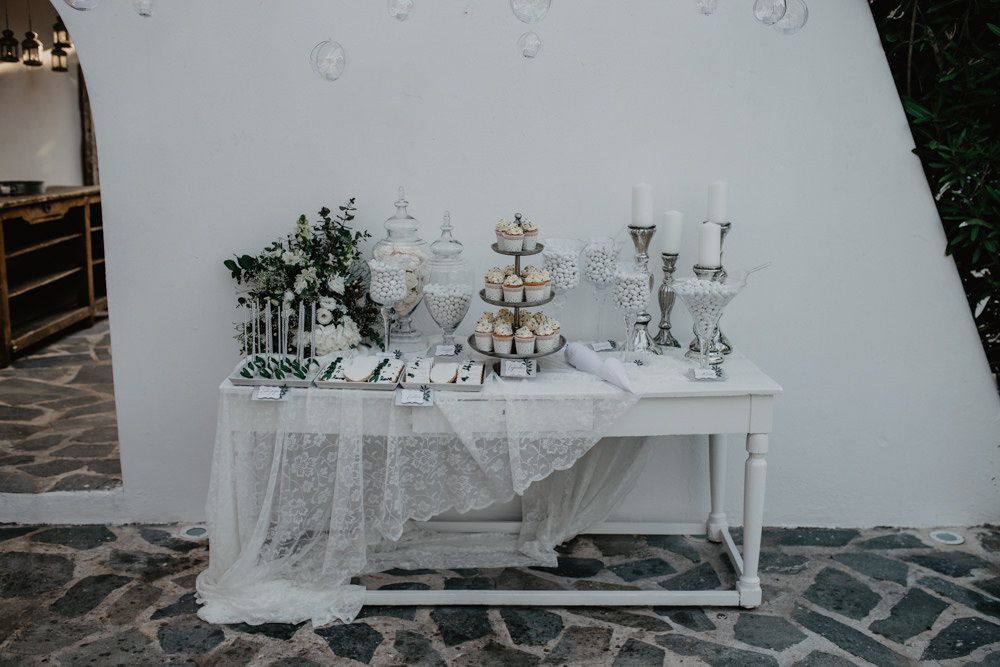 Cake Dessert Table Sugared Almonds Apothecary Jars Lace Greece Destination Wedding Elena Popa Photography