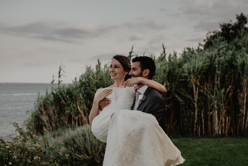 Bride Bridal Fishtail Lace Cap Sleeve Sweetheart Dress Gown Groom Dark Grey Greece Destination Wedding Elena Popa Photography