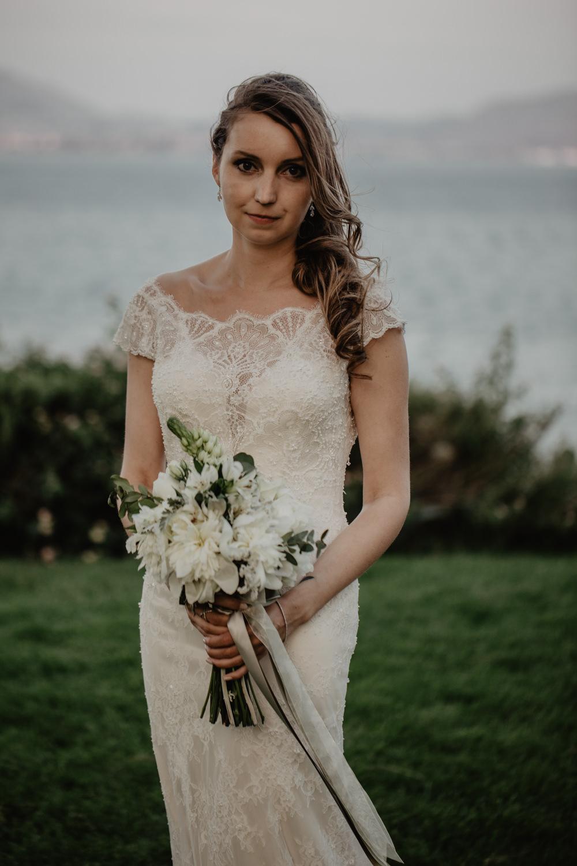 Bride Bridal Fishtail Lace Cap Sleeve Sweetheart Dress Gown Bouquet Ribbon White Greece Destination Wedding Elena Popa Photography
