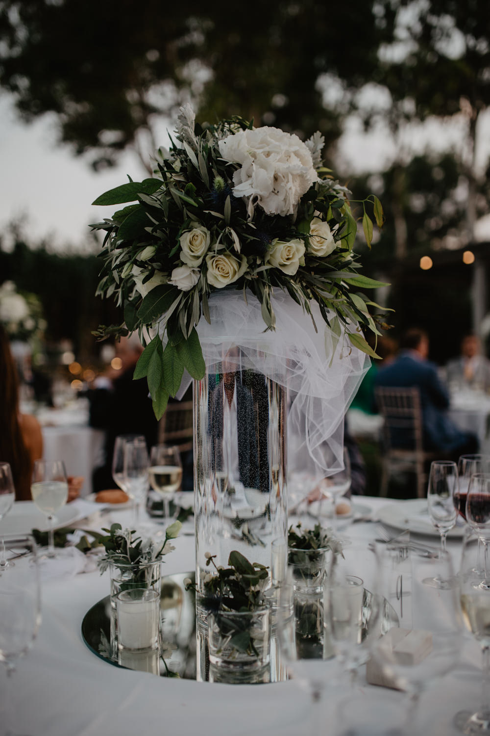 Centrepiece Floral Tall Vase Foliage Mirror Plate Candle Greece Destination Wedding Elena Popa Photography
