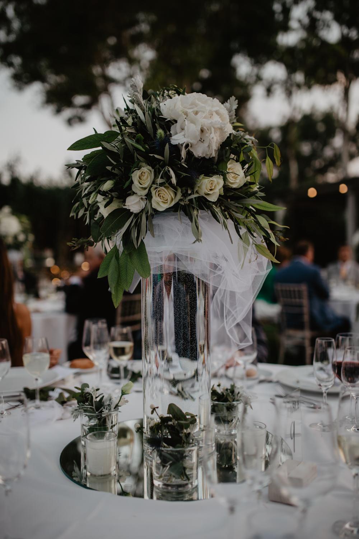 Centrepiece Floral Tall Vase Foliage Mirror Plate Candle Greece Destination Wedding Elena Popa Photography