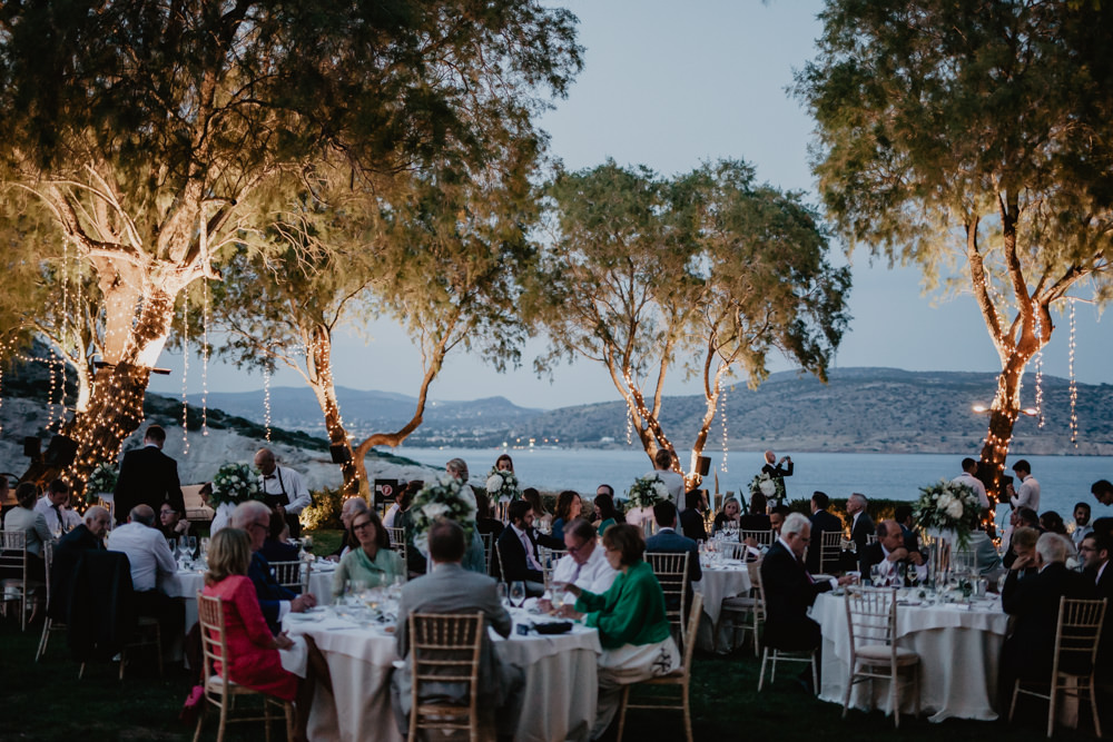 Tree Fairy Lights Outdoor Dinner Reception Greece Destination Wedding Elena Popa Photography