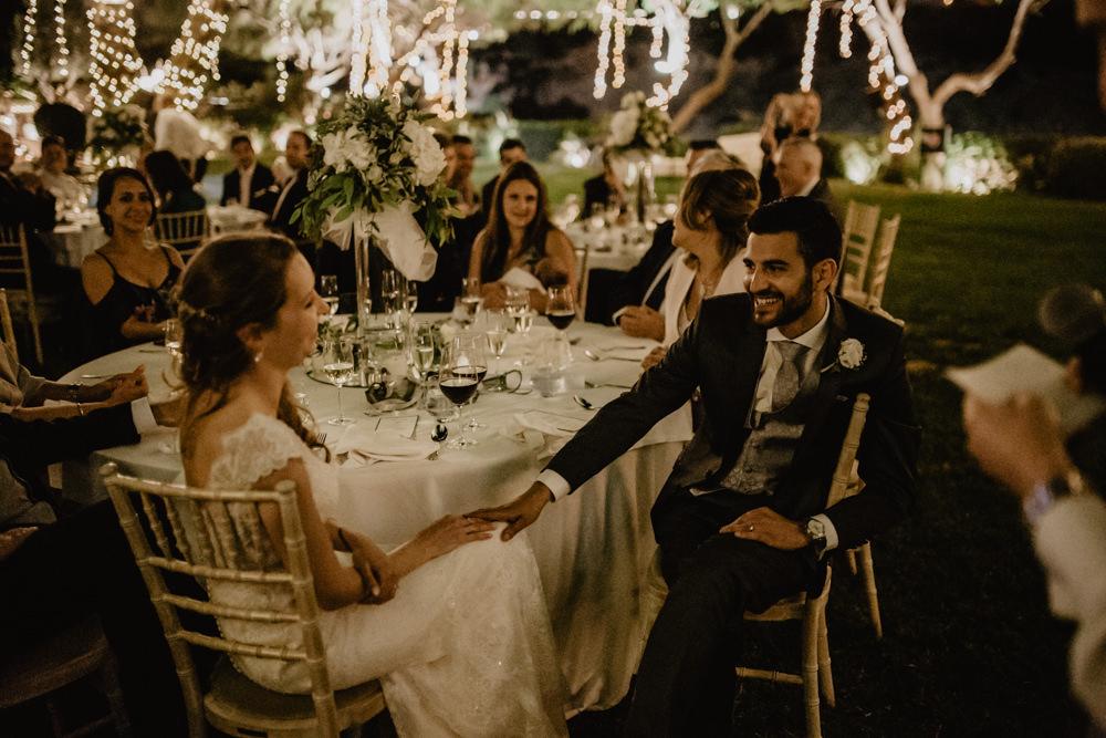 Bride Bridal Fishtail Lace Cap Sleeve Sweetheart Dress Gown Groom Dark Grey Waistcoat Fairy Lights Tree Greece Destination Wedding Elena Popa Photography