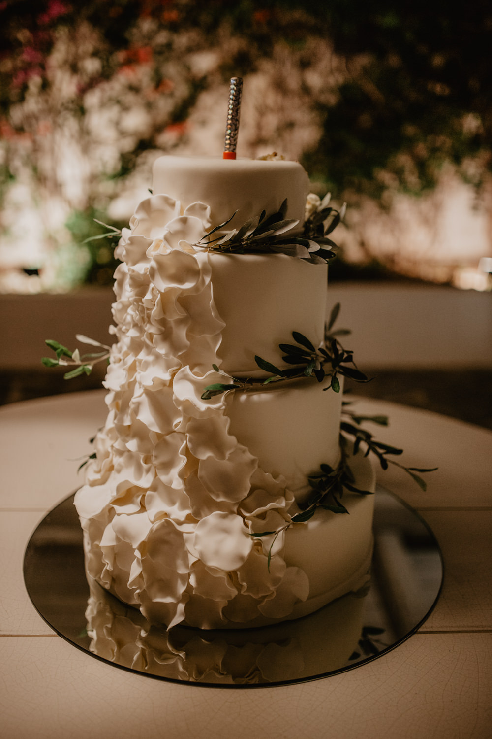 Cake White Tiered Olive Leaves Sparkler Icing Greece Destination Wedding Elena Popa Photography
