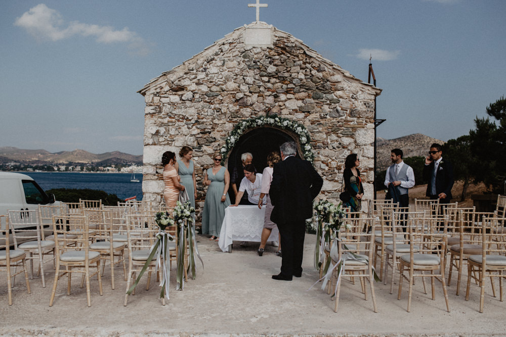 Outdoor Ceremony Church Greenery Floral Arch Greece Destination Wedding Elena Popa Photography