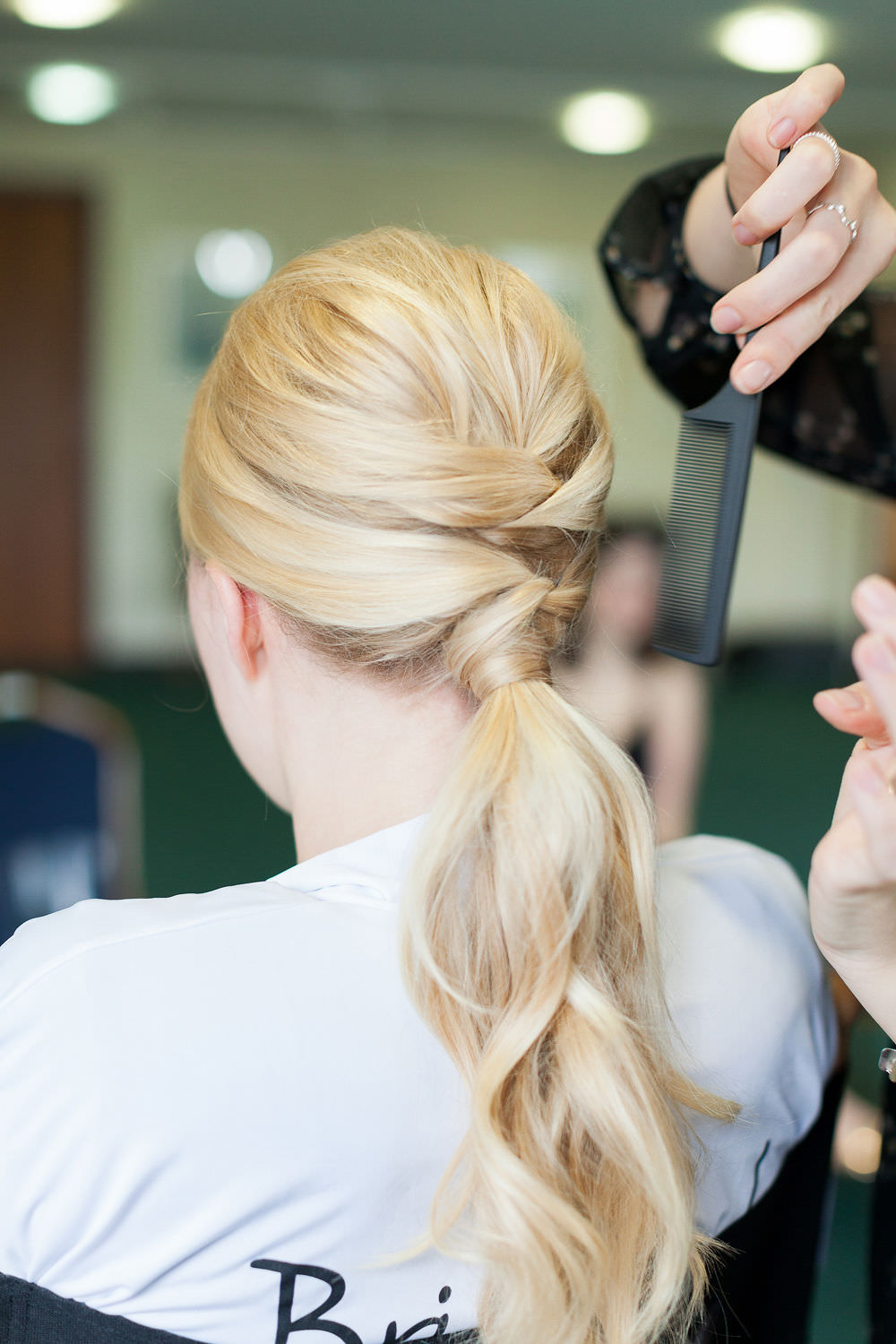 Bride Bridal Hair Ponytail Up Do Style Highcliffe Castle Wedding Bowtie and Belle Photography