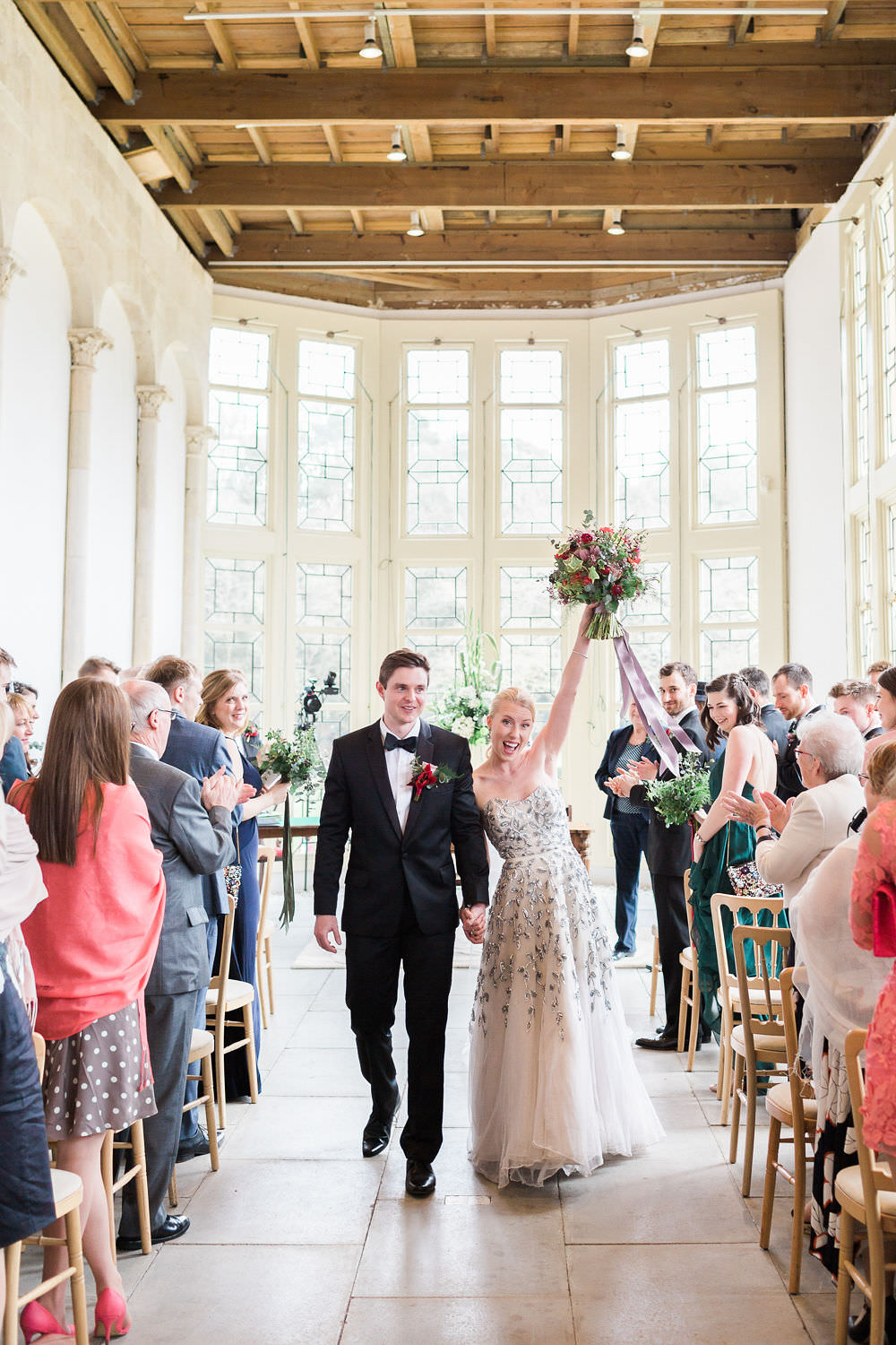 Just Married Highcliffe Castle Wedding Bowtie and Belle Photography