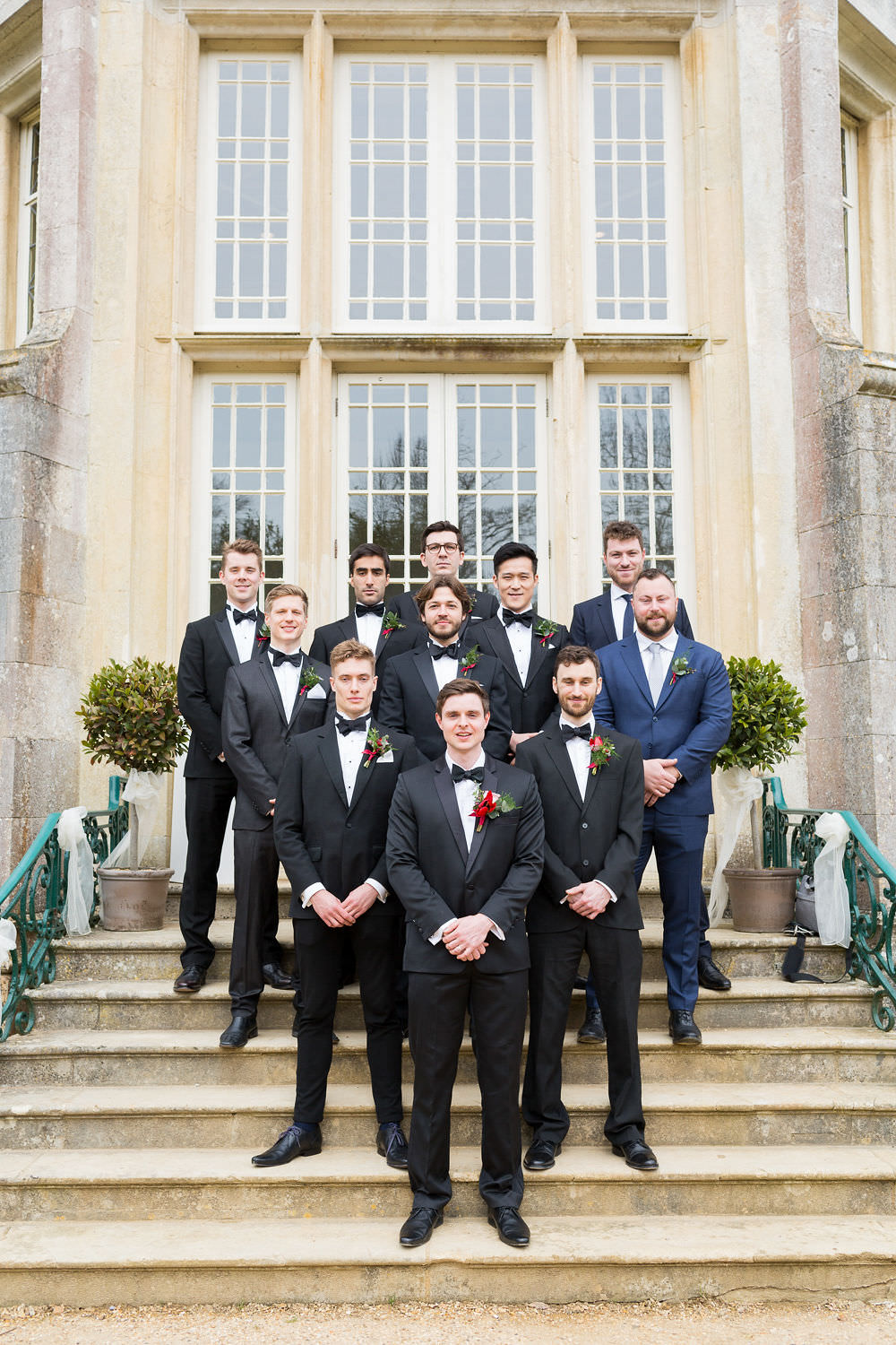 Groom Suit Tuxedo Black Bow Tie Groomsmen Highcliffe Castle Wedding Bowtie and Belle Photography