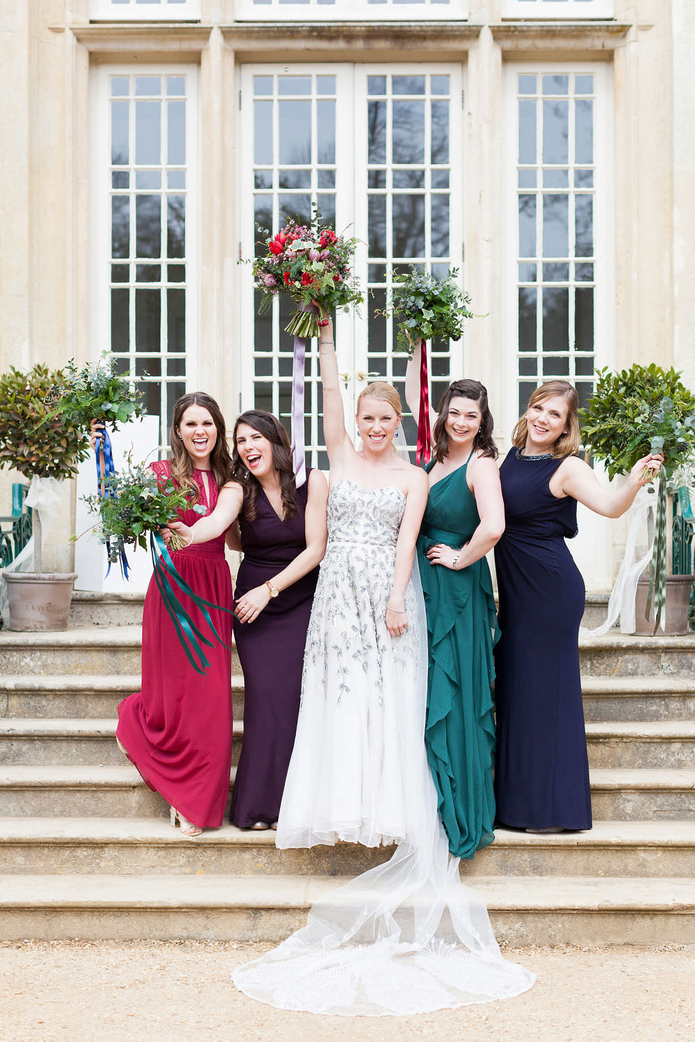 Bridesmaid Dresses Dress Long Maxi Jewel Gem Red Purple Highcliffe Castle Wedding Bowtie and Belle Photography