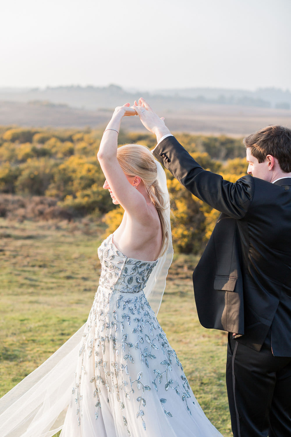 First Dance Vintage Couture Dress Gown Bride Bridal Paris Strapless Sequin Embellished Veil Highcliffe Castle Wedding Bowtie and Belle Photography