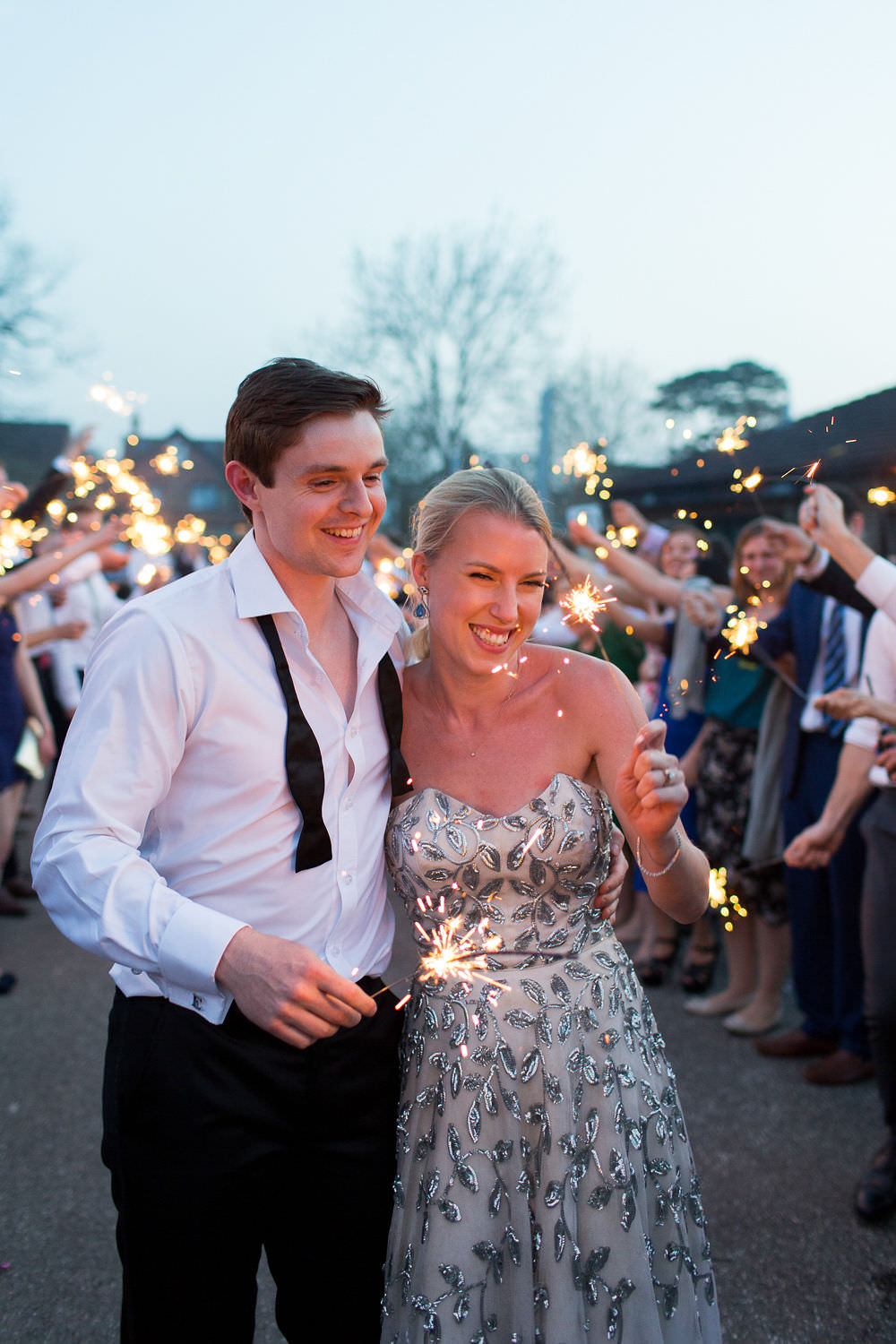 Sparkler Send Off Exit Highcliffe Castle Wedding Bowtie and Belle Photography