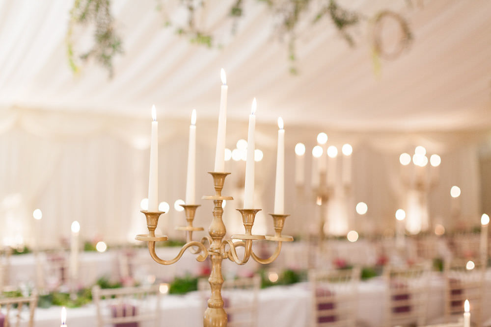 Marquee Decor Tables Candelabras Candlesticks Highcliffe Castle Wedding Bowtie and Belle Photography
