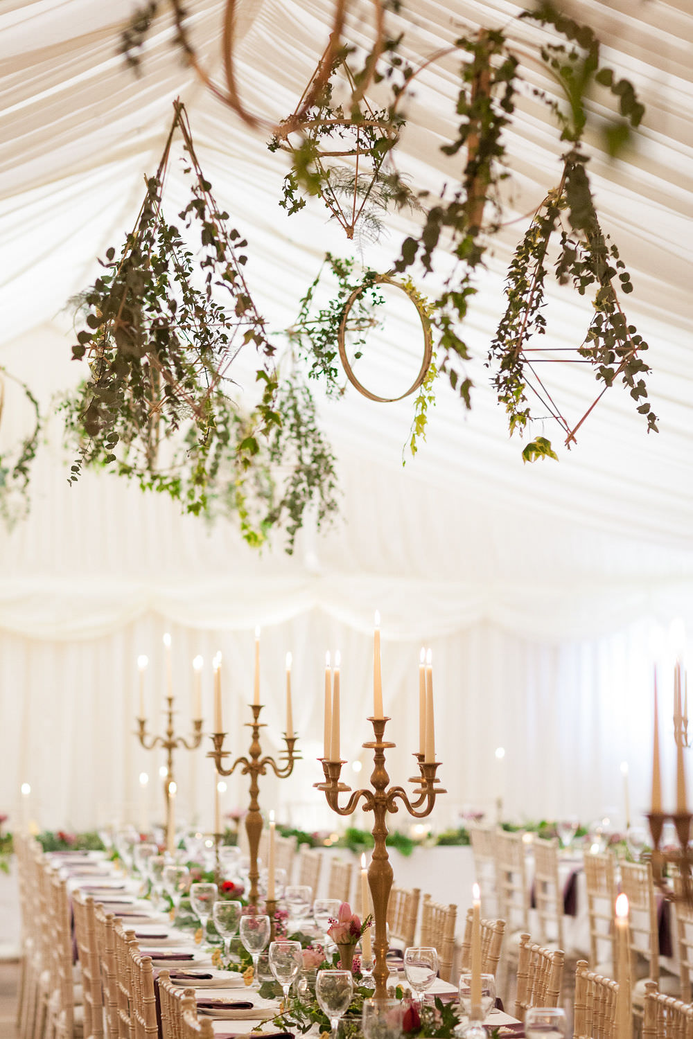Highcliffe Castle Wedding Marquee Hoops Hanging Suspended Greenery Foliage Decor Geometric Brass Candlesticks Candelabras Bowtie and Belle Photography
