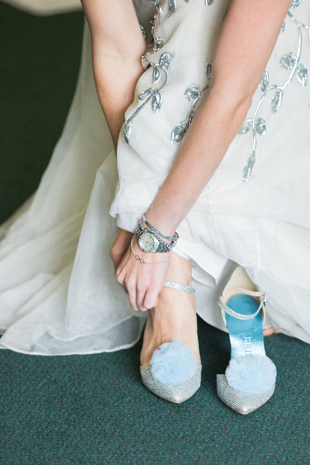 Bride Bridal Shoes Blue Pom Pom Highcliffe Castle Wedding Bowtie and Belle Photography