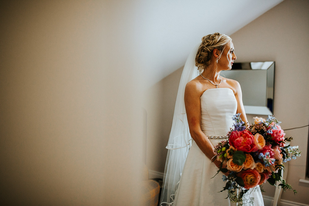 Bride Bridal Dress Gown Strapless Veil Jesus Peiro Holmes Mill Wedding Emilie May Photography