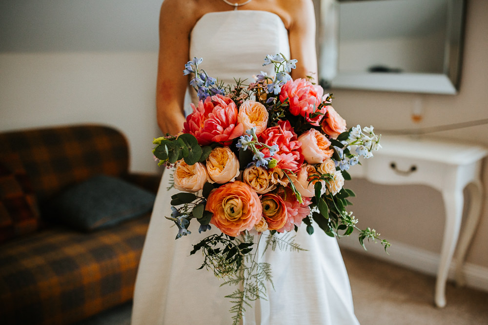 Bouquet Flowers Bride Bridal Peach Coral Peony Peonies Rose Holmes Mill Wedding Emilie May Photography