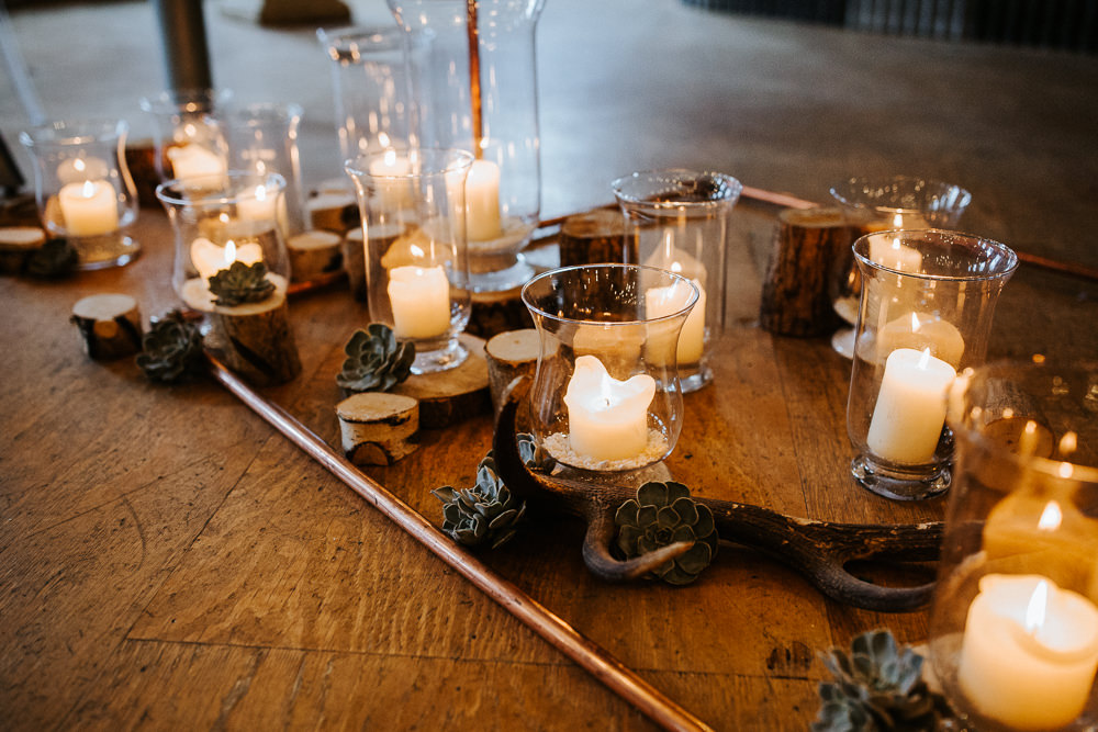 Candles Ceremony Flowers Aisle Holmes Mill Wedding Emilie May Photography