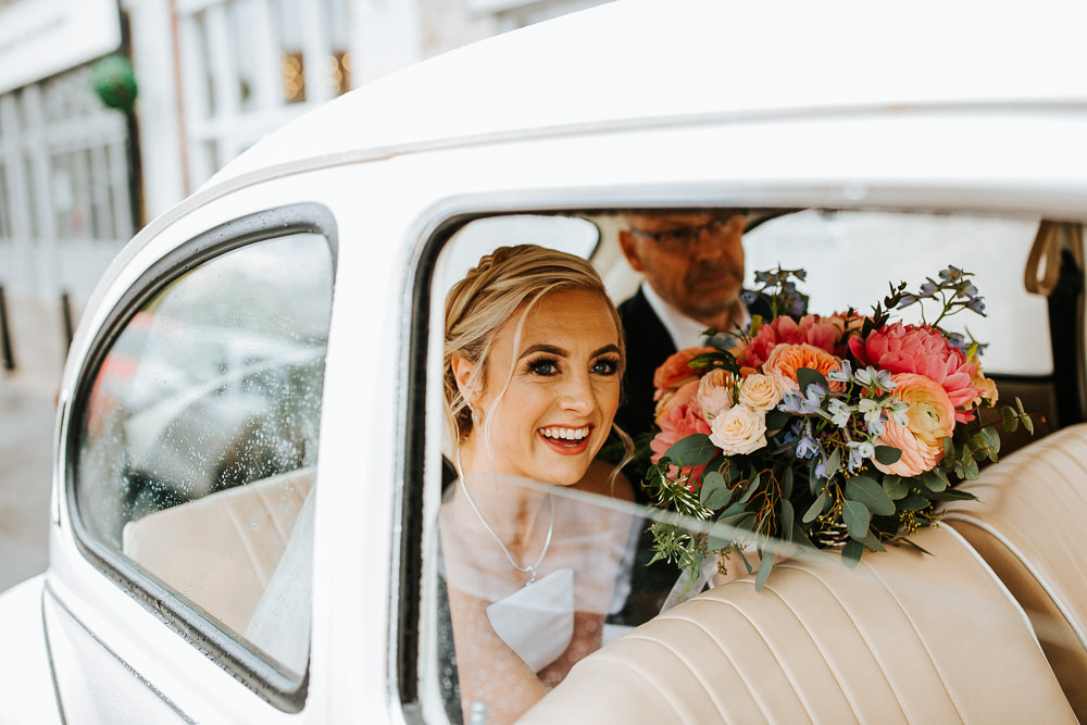 VW Beetle Car Transport Holmes Mill Wedding Emilie May Photography