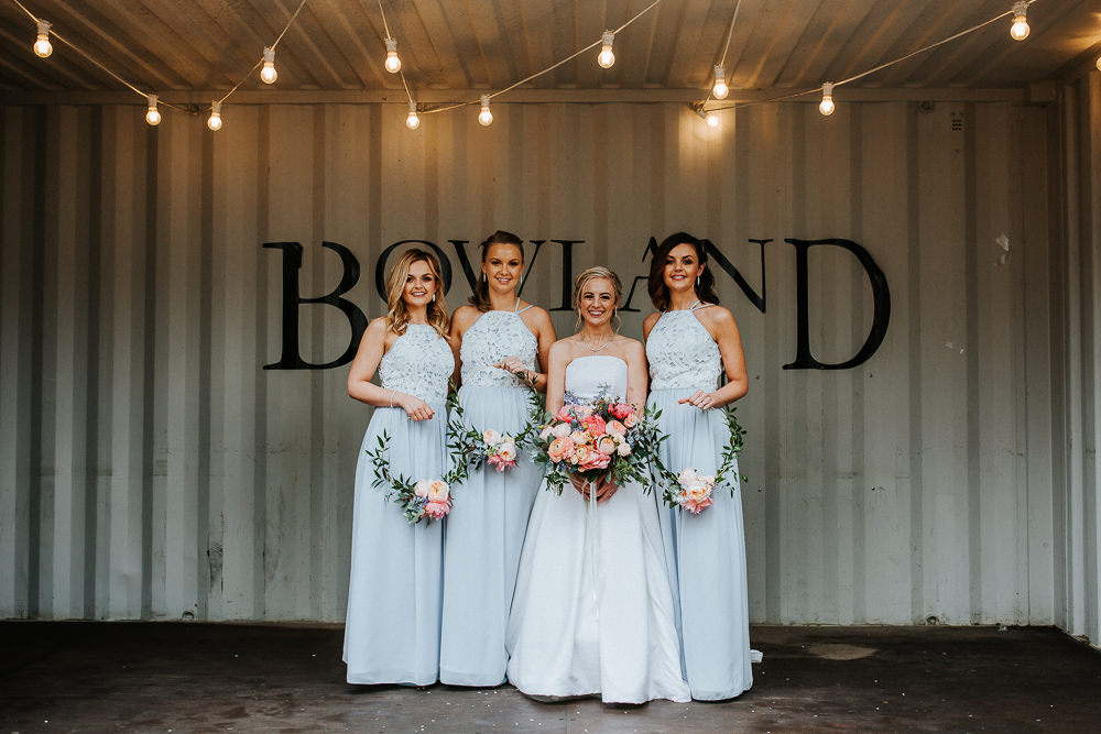 Long Maxi Dresses Bridesmaids Pale Glue Grey Wreath Hoop Bouquet Flowers Holmes Mill Wedding Emilie May Photography