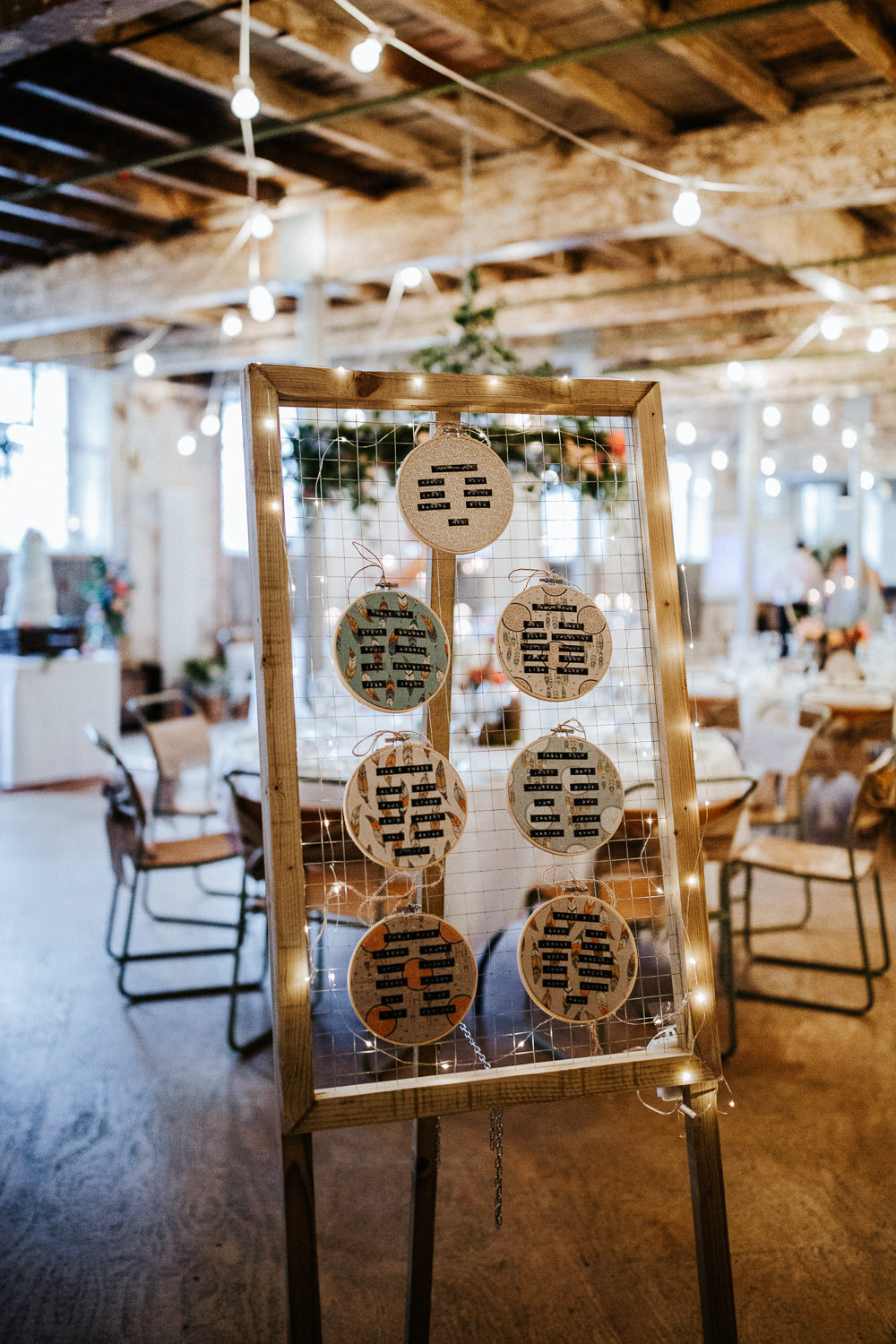 Seating Plan Table Chart Embroidery Hoops Frame Holmes Mill Wedding Emilie May Photography