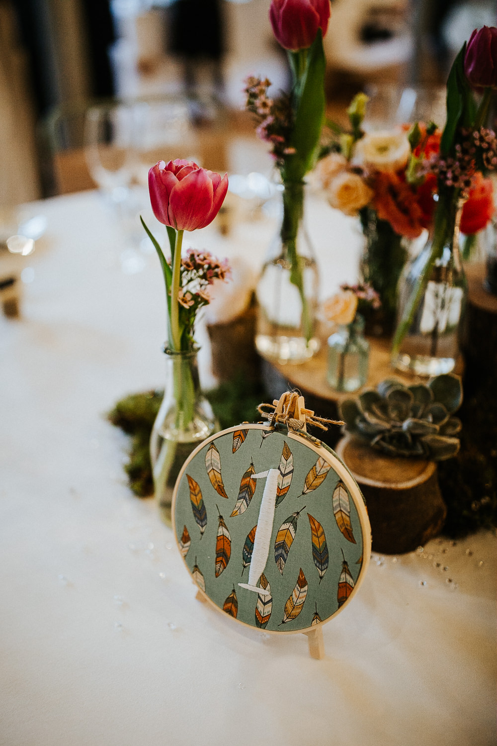 Embroidery Hoops Fabric Floral Table Number Holmes Mill Wedding Emilie May Photography