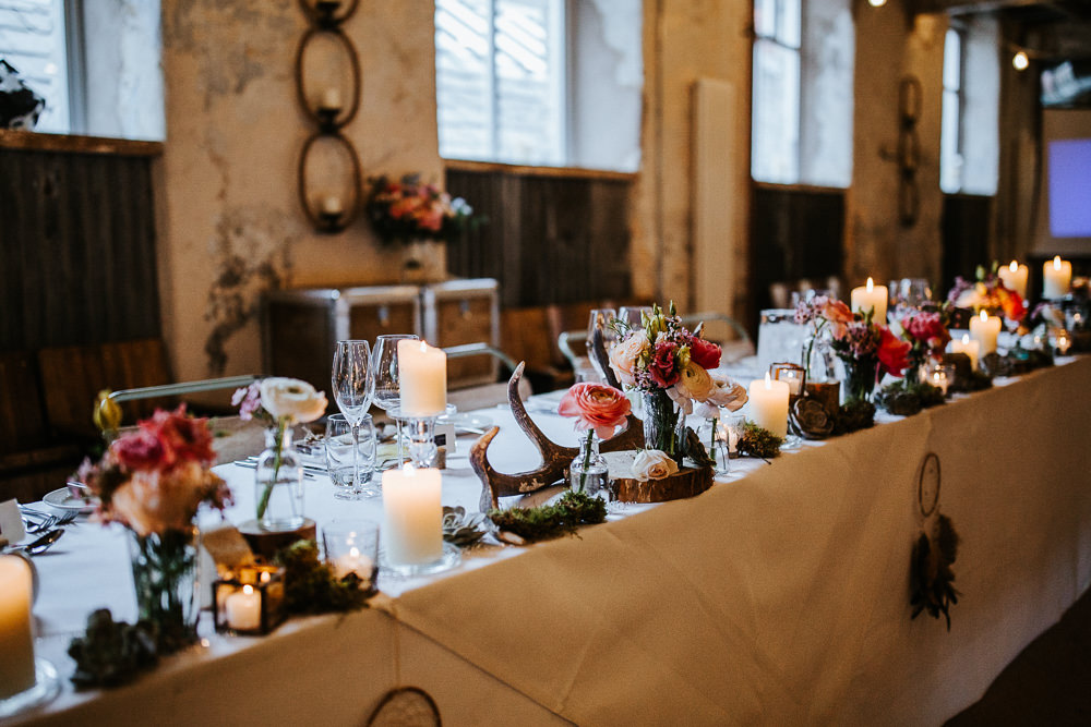 Top Table Decor Antlers Moss Log Flowers Holmes Mill Wedding Emilie May Photography