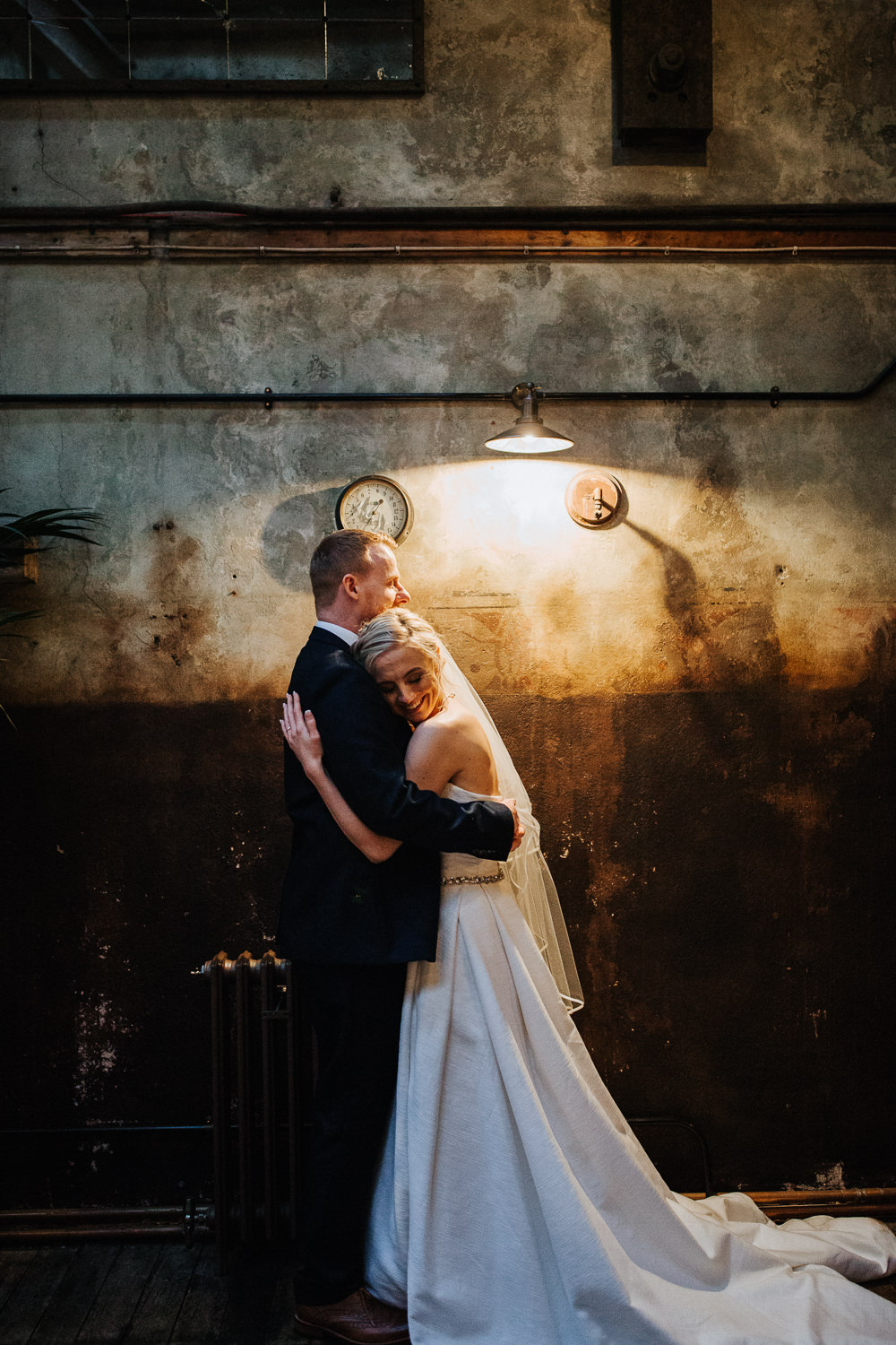 Bride Bridal Dress Gown Strapless Veil Jesus Peiro Train Belt Holmes Mill Wedding Emilie May Photography