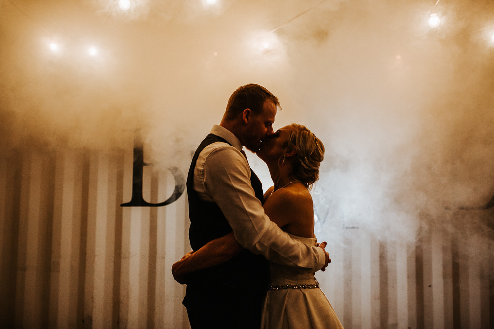 Smoke Bomb Festoon Lights Holmes Mill Wedding Emilie May Photography