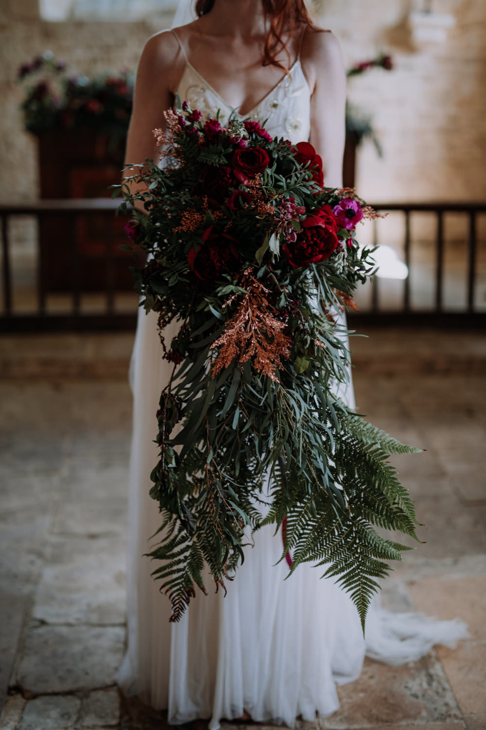 Bouquet Flowers Bride Bridal Large Cascading Oversized Greenery Foliage Burgundy Peony Peonies Ferns Industrial Luxe Wedding Ideas Balloon Installation Ayelle Photography