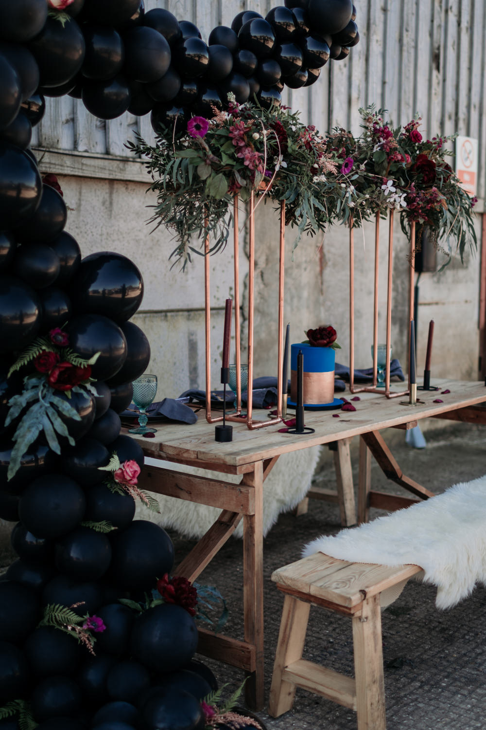 Table Set Up Tablescape Decor Suspended Flowers Copper Navy Blue Magenta Industrial Luxe Wedding Ideas Balloon Installation Ayelle Photography