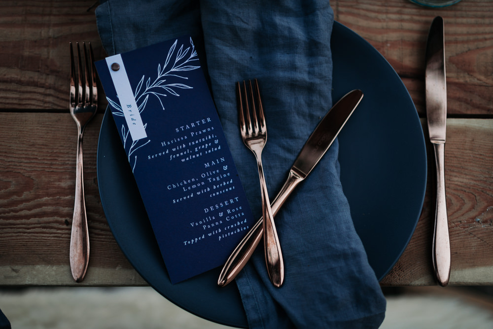 Linen Napkins Navy Blue Stationery Menu Place Setting Copper Cutlery Industrial Luxe Wedding Ideas Balloon Installation Ayelle Photography