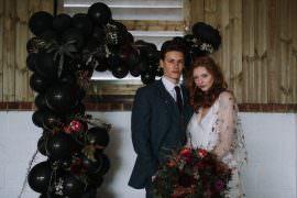Backdrop Bride Groom Industrial Luxe Wedding Ideas Balloon Installation Ayelle Photography