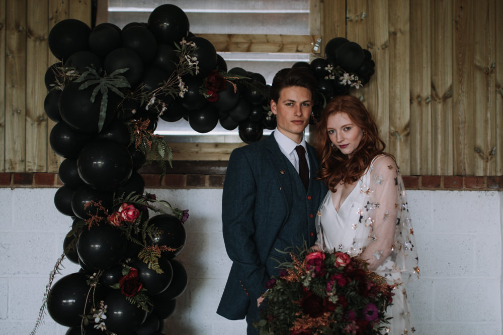 Backdrop Bride Groom Industrial Luxe Wedding Ideas Balloon Installation Ayelle Photography