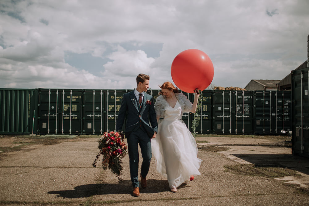 Giant Balloon Bride Groom Industrial Luxe Wedding Ideas Balloon Installation Ayelle Photography