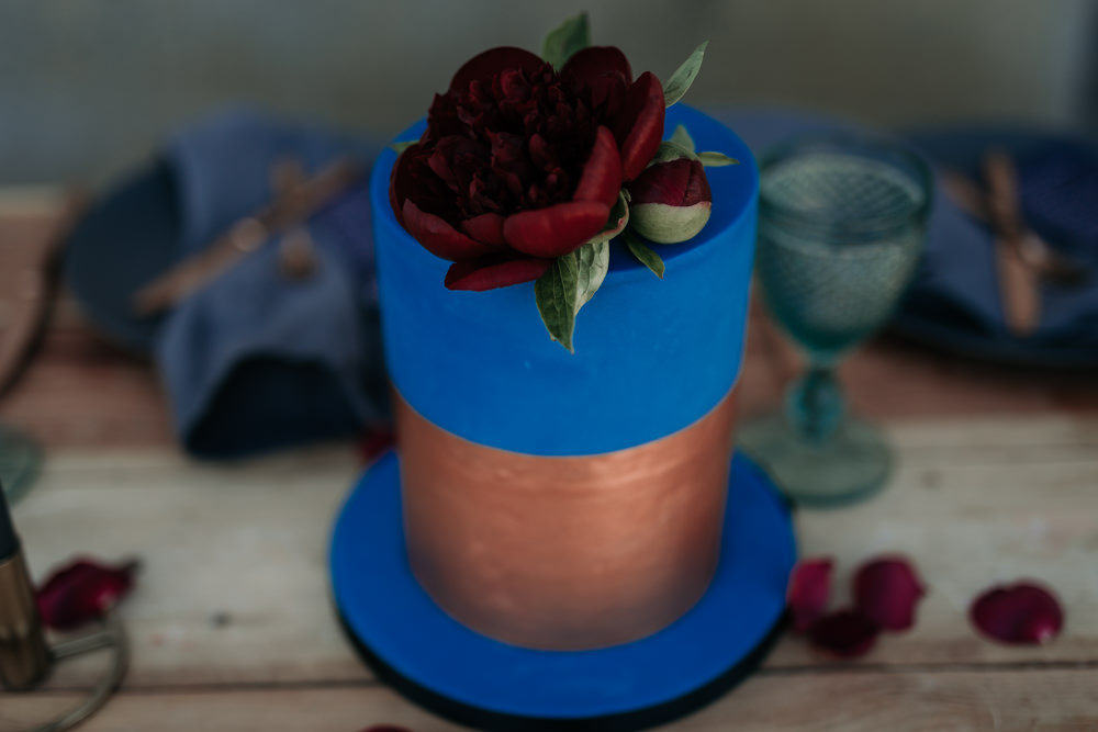 Blue Cake Copper Metallic Red Rose Industrial Luxe Wedding Ideas Balloon Installation Ayelle Photography