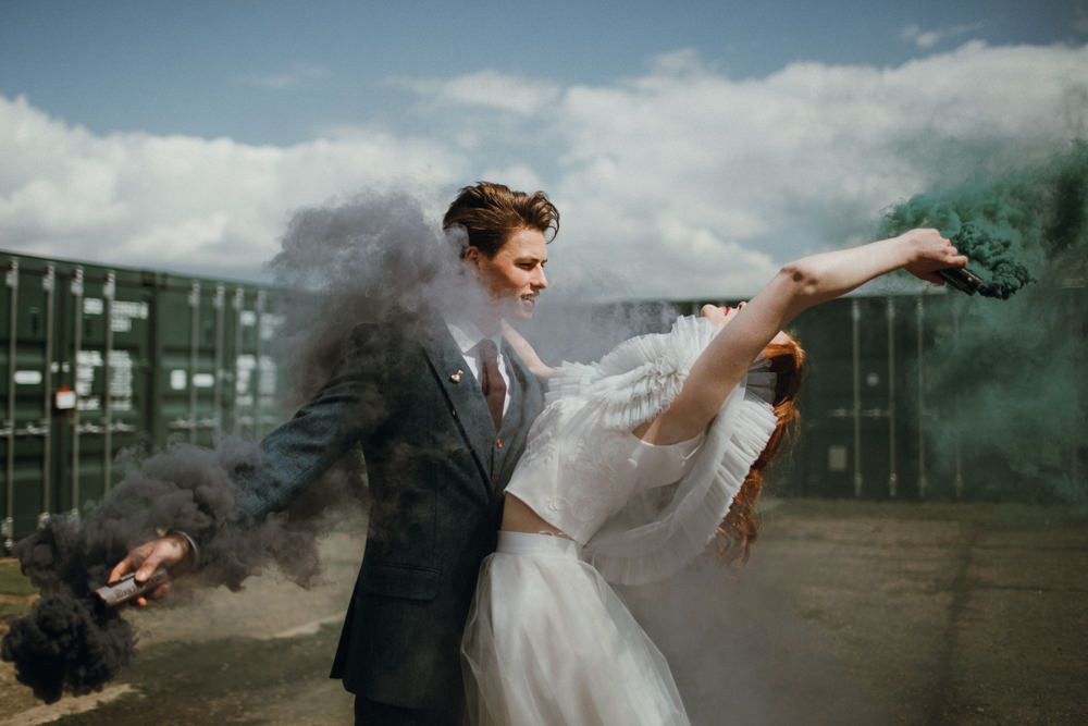 Smoke Bomb Portrait Photos Bride Groom Industrial Luxe Wedding Ideas Balloon Installation Ayelle Photography