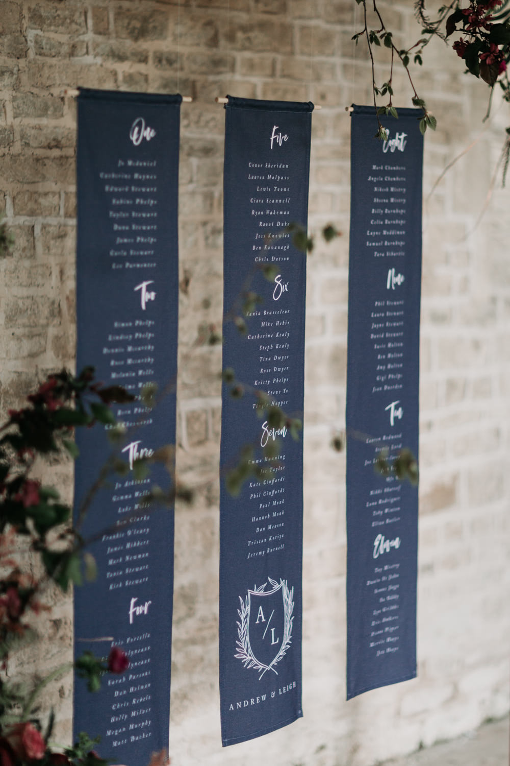 Seating Plan Seating Chart Navy Blue Frame Wooden Flowers Suspended Hanging Banner Scroll Industrial Luxe Wedding Ideas Balloon Installation Ayelle Photography