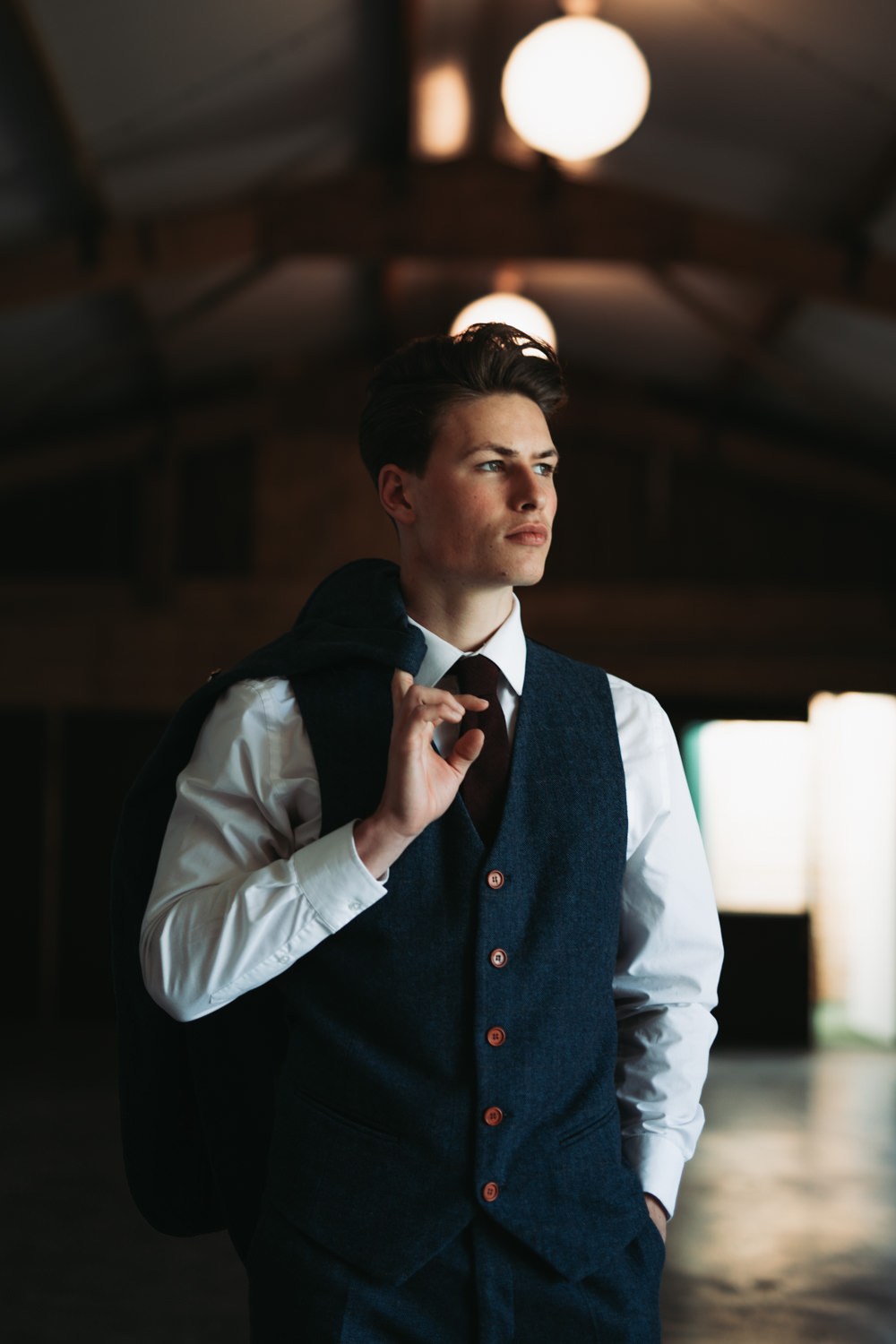 Groom Suit Style Navy Three Piece Burgundy Tie Pin Industrial Luxe Wedding Ideas Balloon Installation Ayelle Photography