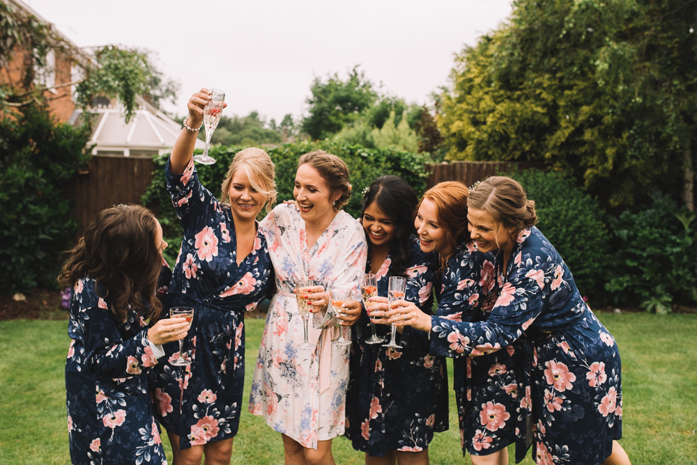 Bride Bridesmaid Prep Dressing Gowns Robes Floral Irnham Hall Wedding Lucie Watson Photography