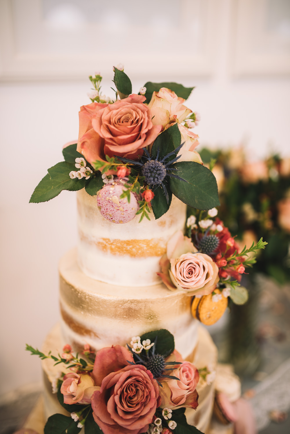 Cake Tall Tiers Gold Buttercream Flowers Macaron Irnham Hall Wedding Lucie Watson Photography
