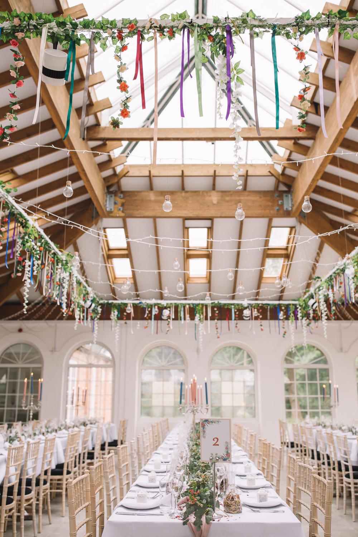 Suspended Hanging Floral Flowers Installation Reception Venue Decor Festoon Lights Irnham Hall Wedding Lucie Watson Photography