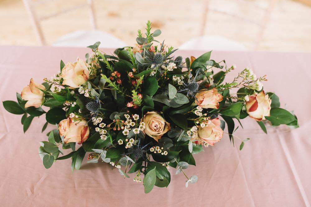 Top Table Flower Arrangement Peach Rose Irnham Hall Wedding Lucie Watson Photography