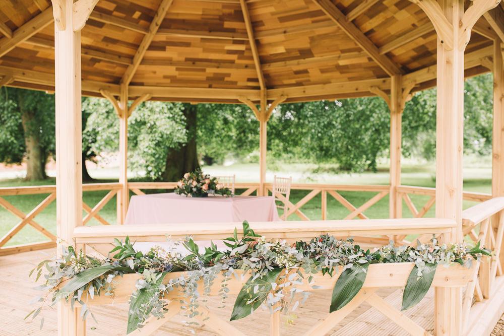 Ceremony Gazebo Flowers Grenery Irnham Hall Wedding Lucie Watson Photography