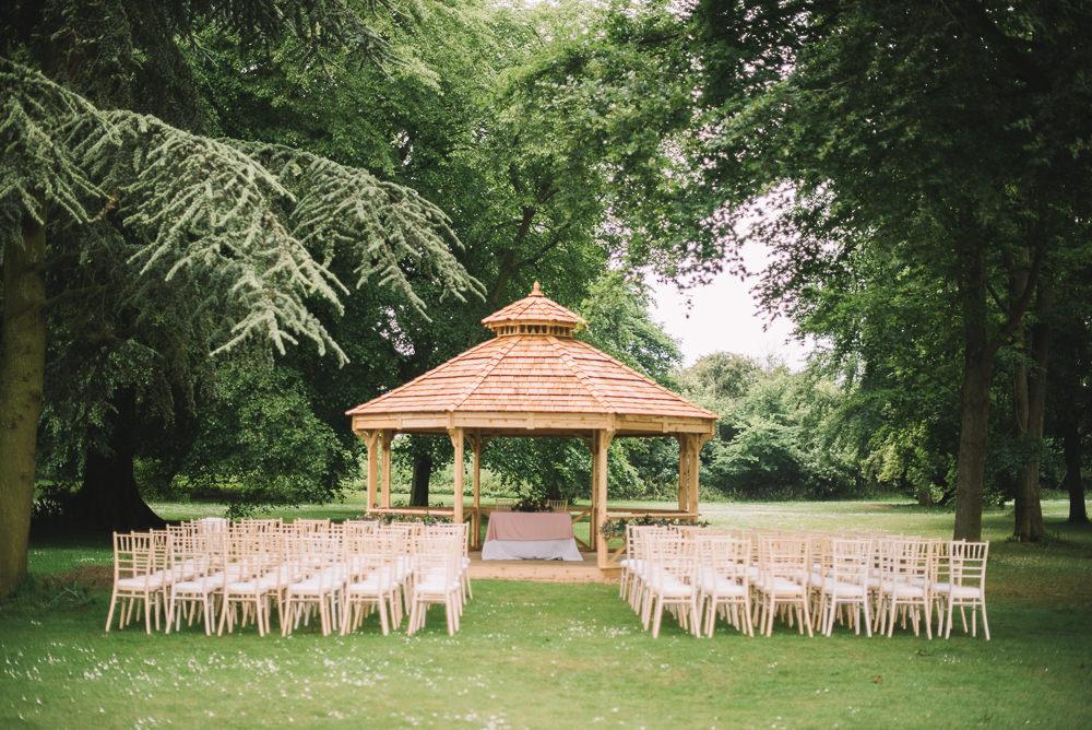 Ceremony Gazebo Outdoor UK Garden Irnham Hall Wedding Lucie Watson Photography
