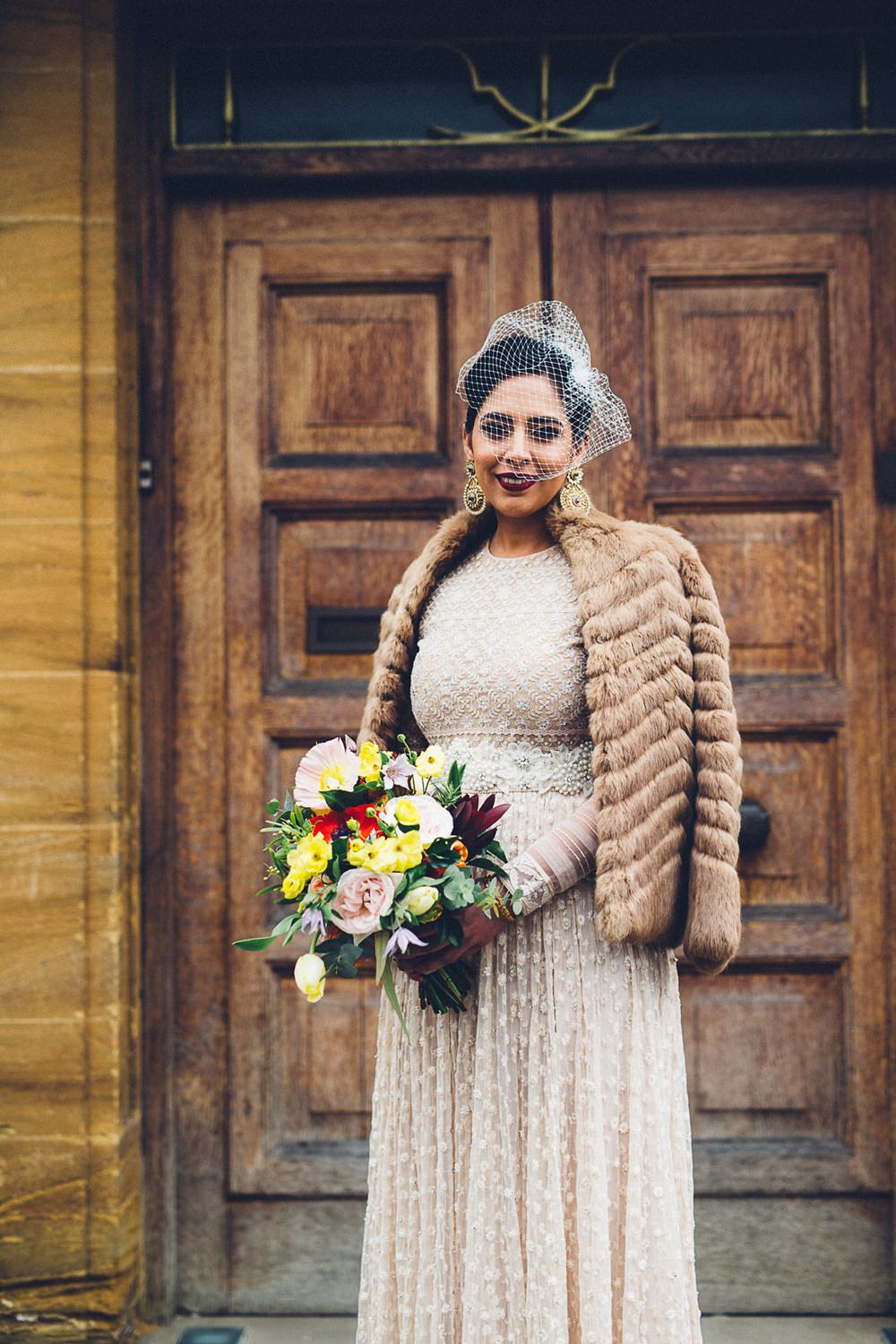 Bride Bridal Ivory Gold Indian Dress Embellished Long Sleeved Birdcage Veil Fur Coat Bouquet MC Motors Wedding LoveStruck Photography