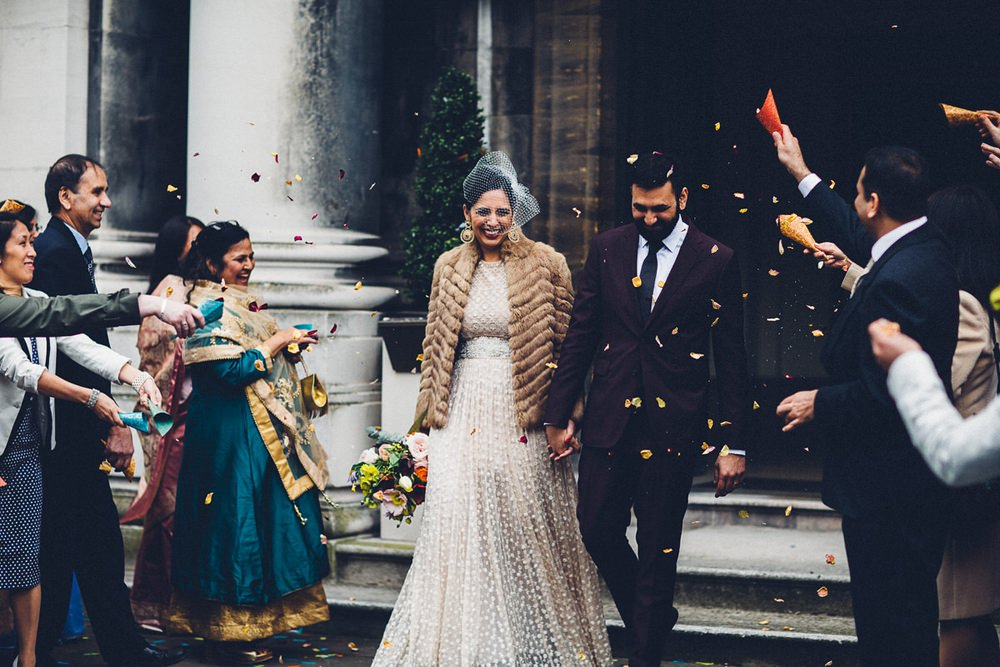 Bride Bridal Ivory Gold Indian Dress Embellished Long Sleeved Birdcage Veil Burberry Ox Blood Burgundy Suit Groom Fur Coat Confetti MC Motors Wedding LoveStruck Photography