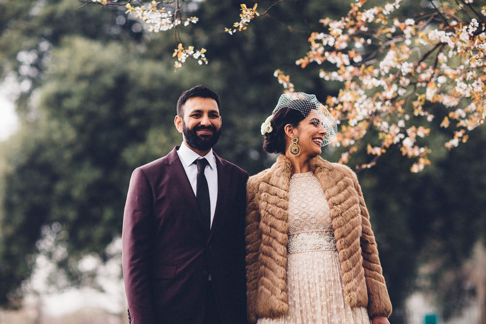 Bride Bridal Ivory Gold Indian Dress Embellished Long Sleeved Birdcage Veil Burberry Ox Blood Burgundy Suit Groom Fur Coat MC Motors Wedding LoveStruck Photography