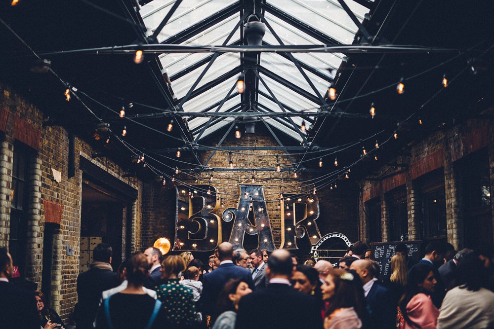 Warehouse Festoon Lights Circus Bar MC Motors Wedding LoveStruck Photography