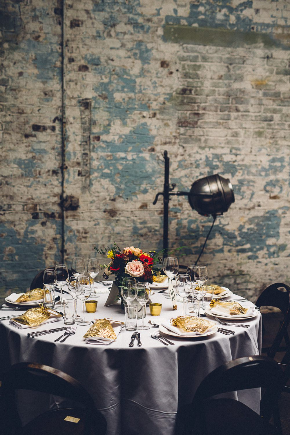 Warehouse Table Setting Multicoloured Flowers MC Motors Wedding LoveStruck Photography