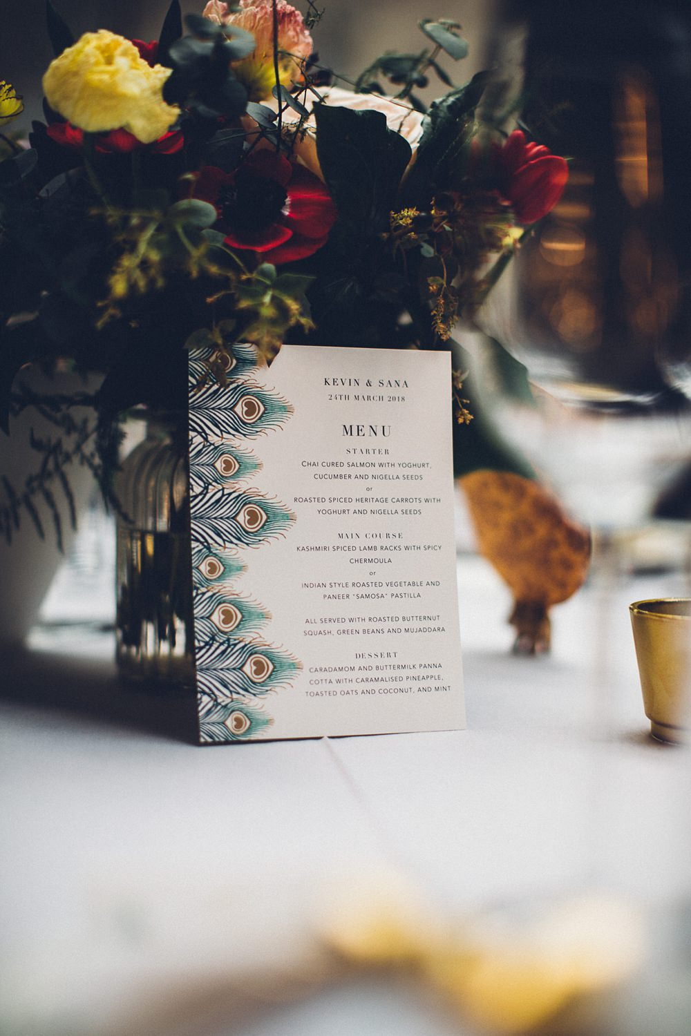 Menu Peacock Stationery Table Centre MC Motors Wedding LoveStruck Photography